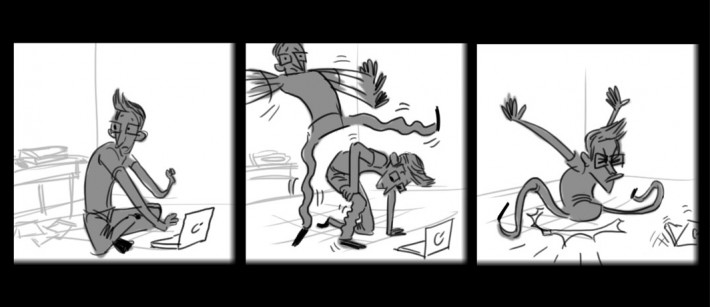 Comic of a man getting up from the floor and falling down because his legs were asleep