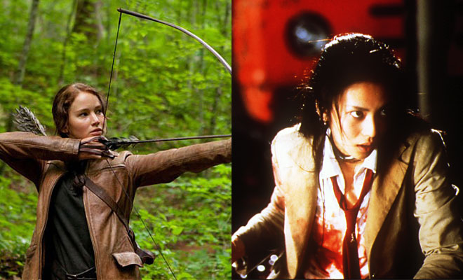 Katniss from the Hunger Games and Mitsuko from Battle Royale