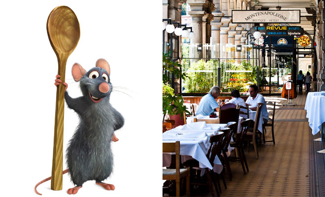 Remi from Ratatouille beside a photo of a restaurant