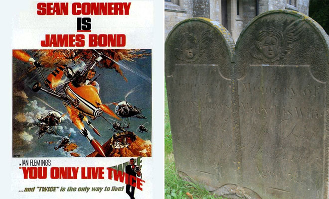 Poster of You Only Live Twice beside a gravestone