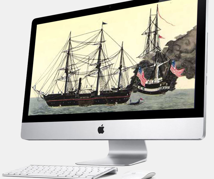 An iMac screen with a painting of Matthew Perry's ships