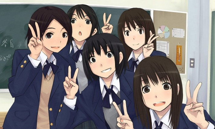 Group of anime girls making the peace sign