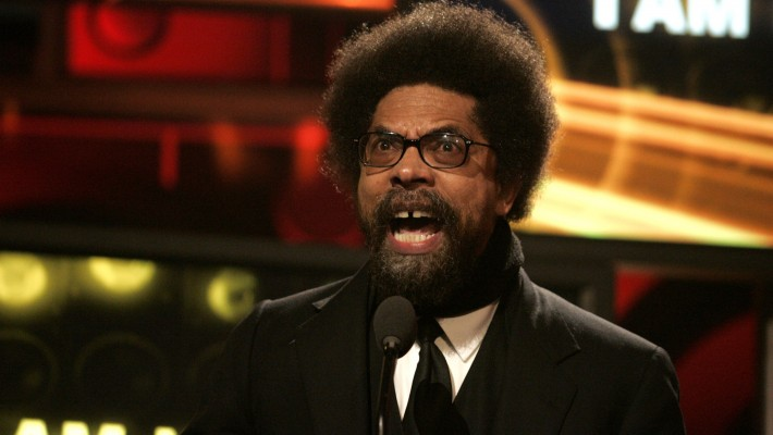 Civil rights activist Cornel West giving an impassioned speech