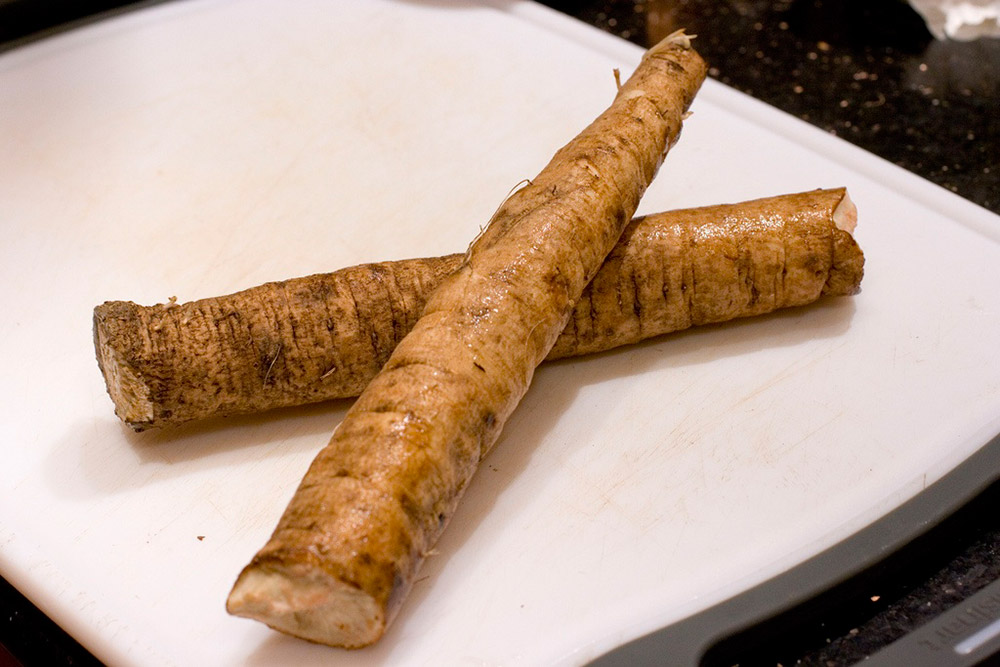 two burdock root on a plate