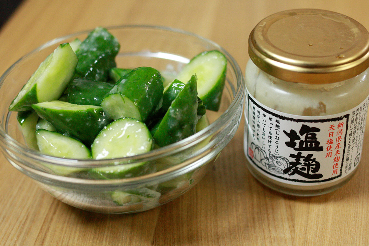 japanese cucumbers and fermented salt