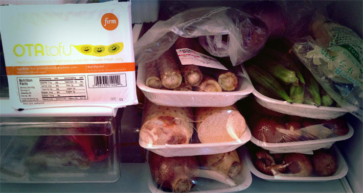 shojin ryori ingredients in a fridge