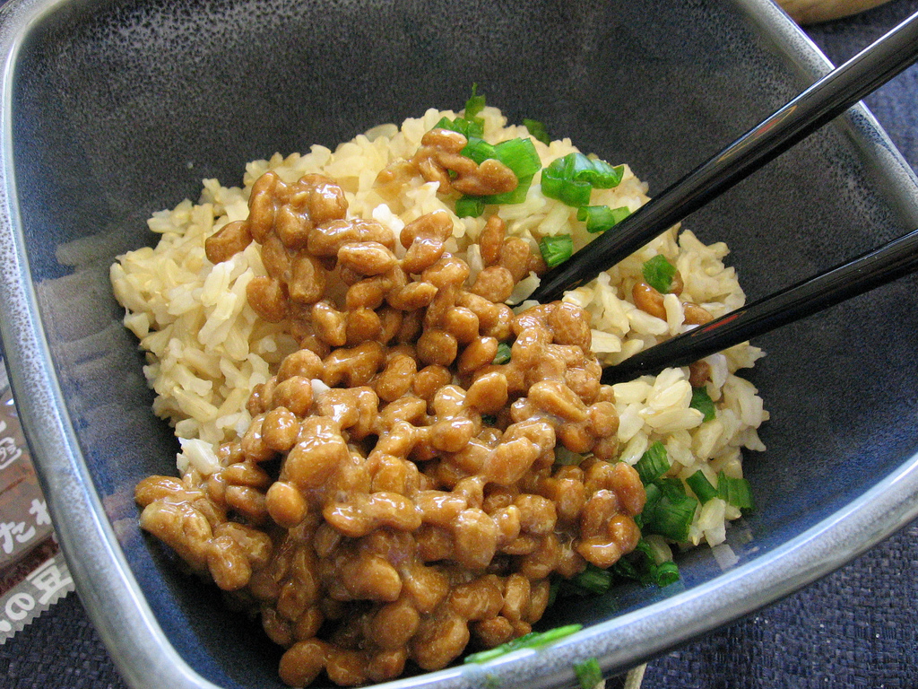 slimy natto on rice