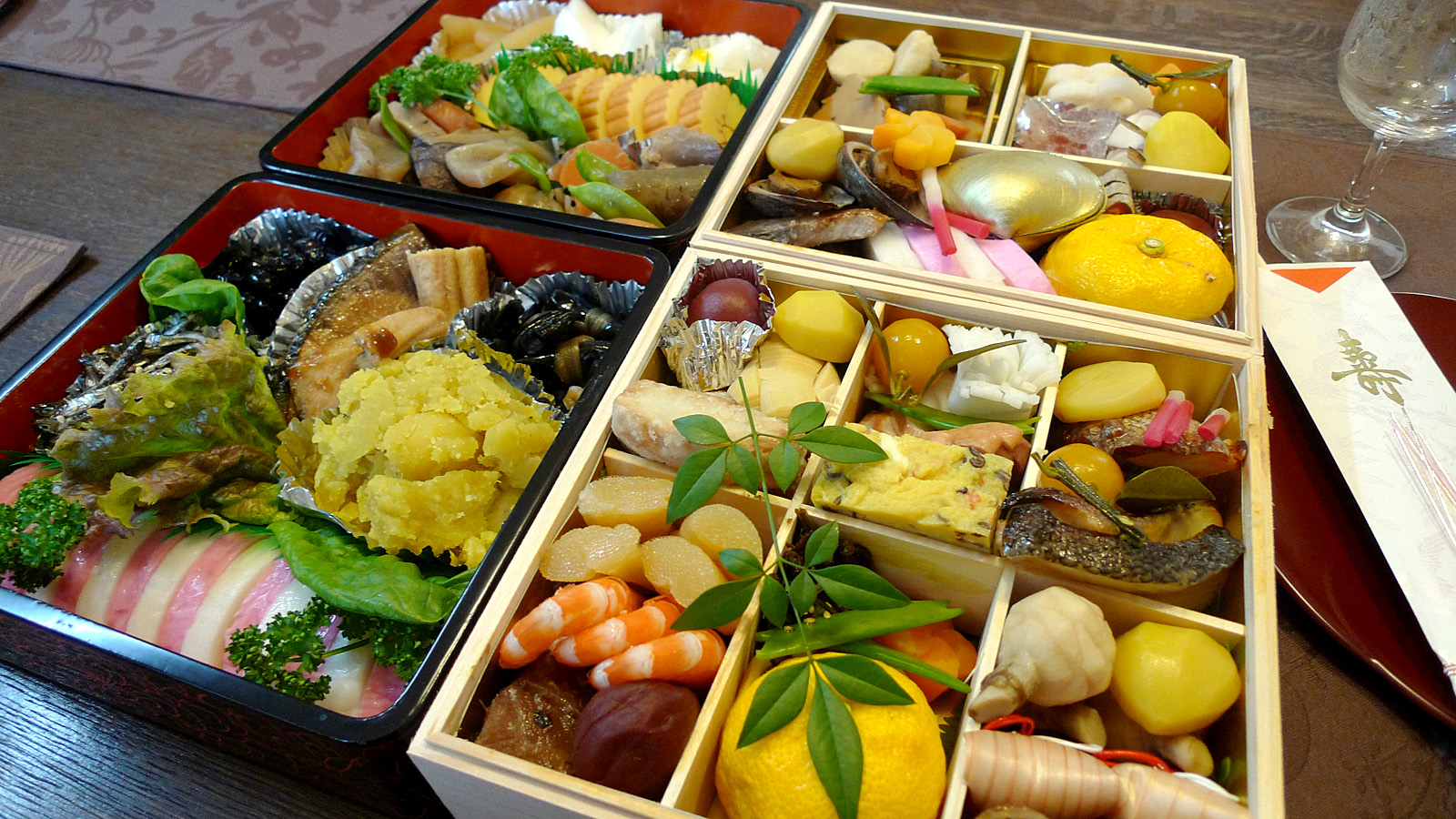spread of classic japanese foods