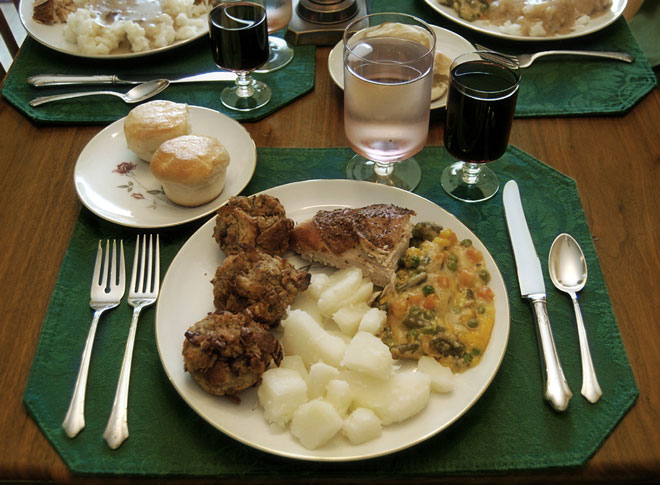 Plate of food at a Thanksgiving dinner