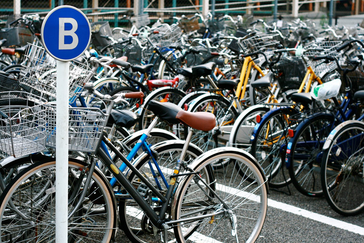 bicycle parking in japan with B sign