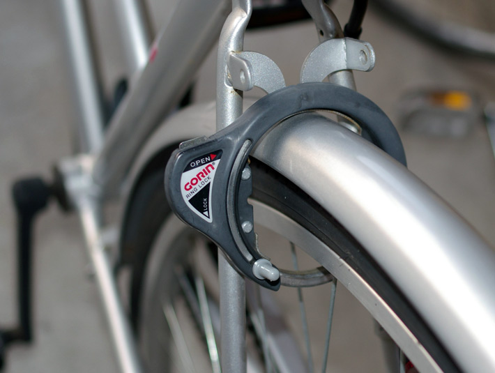 japanese bicycle lock silver bike