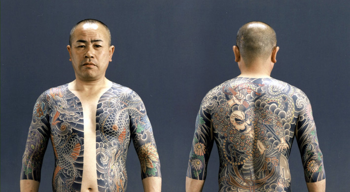yakuza tattoos on front and back of torso