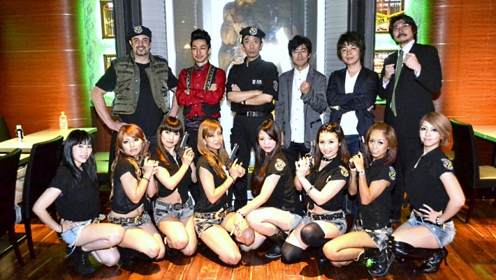 Men and women in STARS and RPD uniform in resident evil restaurant
