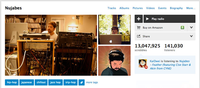 The last.fm page of legendary Japanese DJ Nujabes