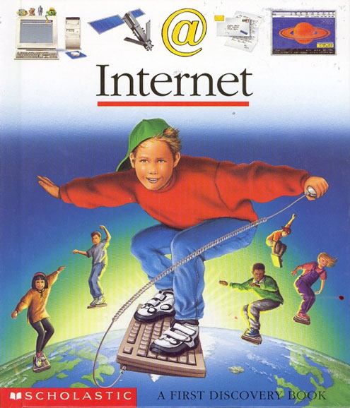 Boy surfing the web with a keyboard