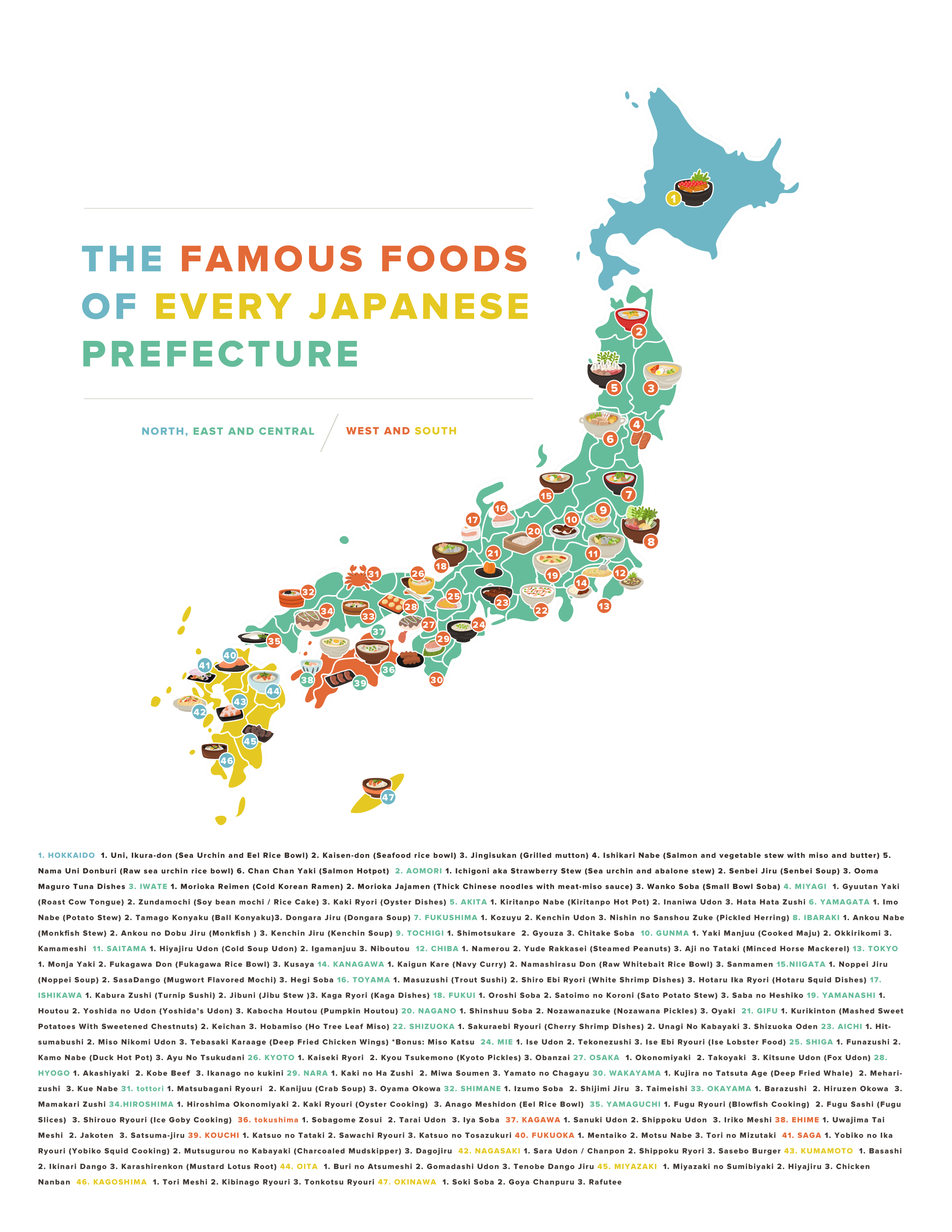 Famous Japanese Foods Sorted By Prefecture - Japan map by prefecture