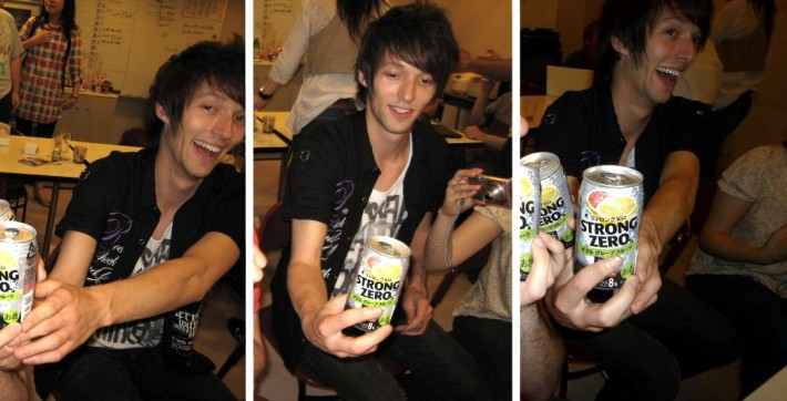 John with multiple cans of Chuhai