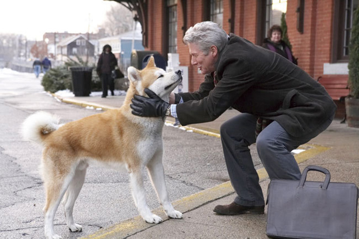 Richard Gere with the eponymous Akita of the movie Hachiko