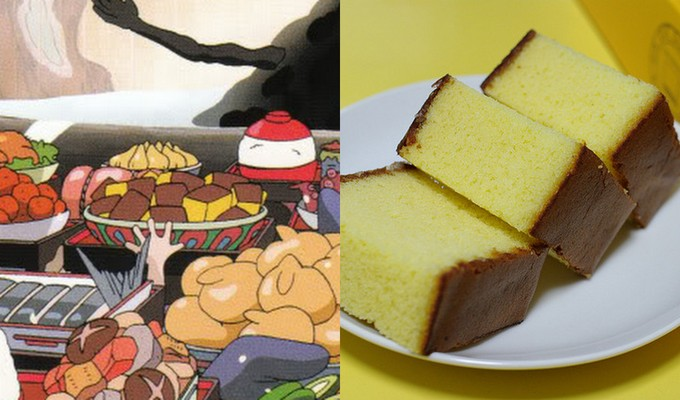 comparison of animated and actual castella
