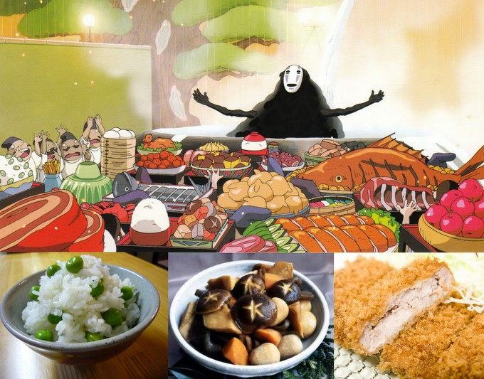 Spirited Away food spread and real examples