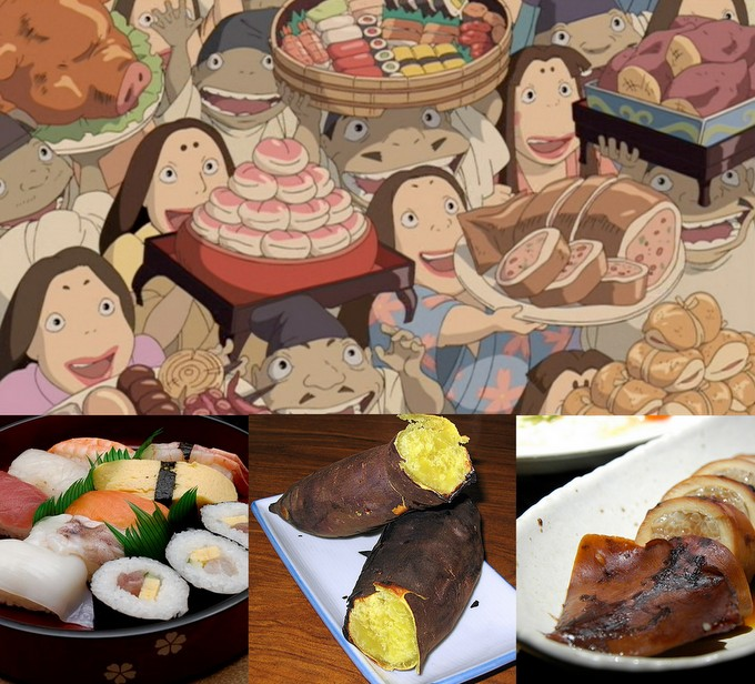 dishes in Spirited Away and real examples