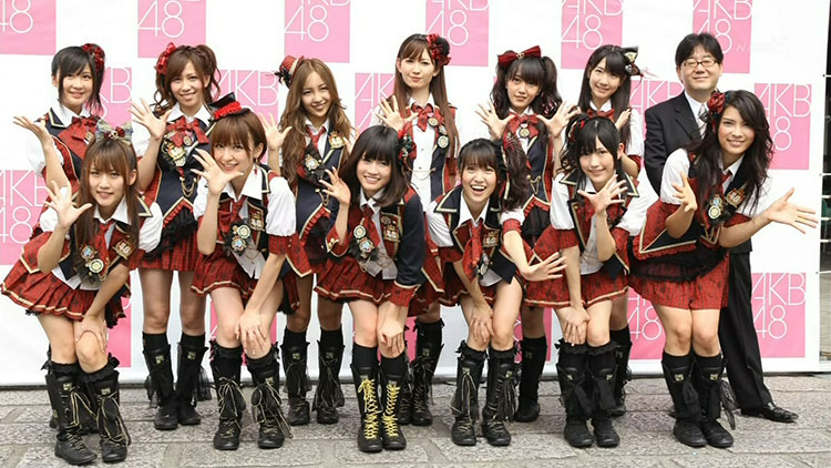 Members of the Japanese idol group AKB48