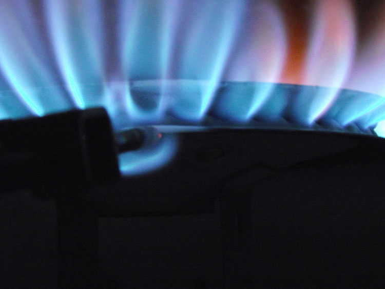 Closeup photo of a water heater flame