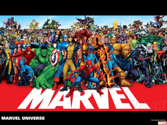 group picture of Marvel Comics characters
