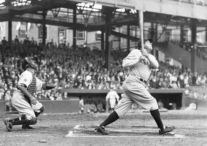 baseball player babe ruth gets a hit