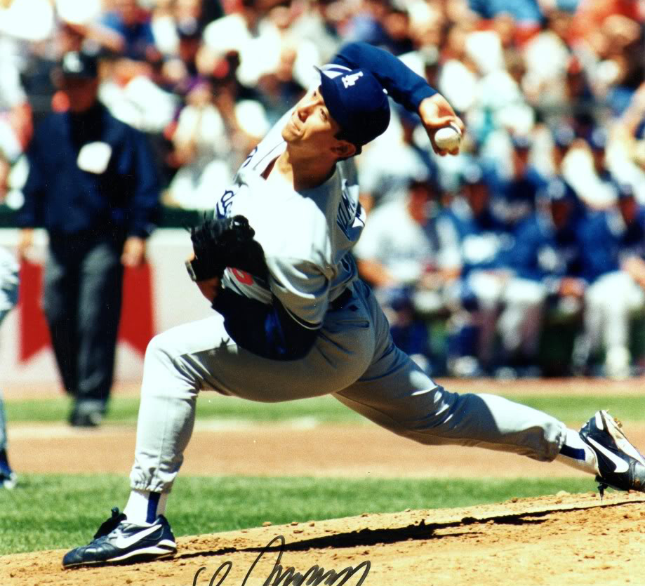 baseball player hideo nomo in mid-pitch