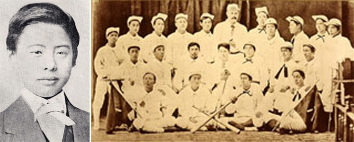old photograph of Japanese baseball team from 1800s