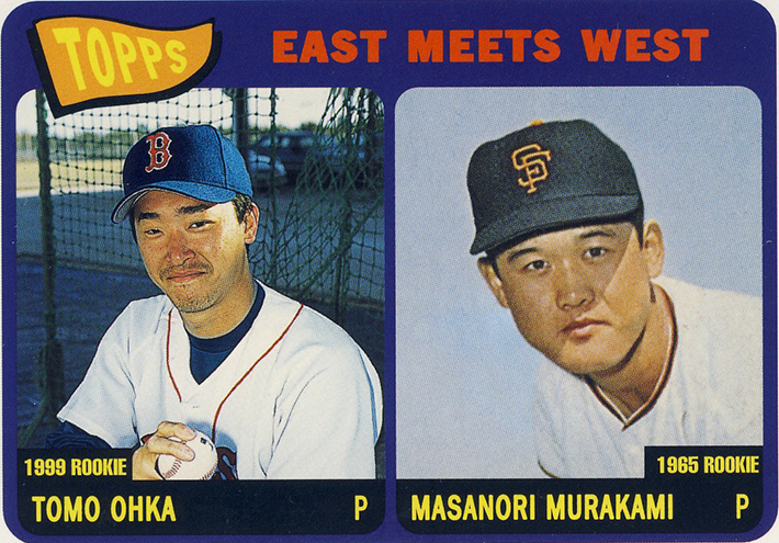 baseball card featuring Tomo Ohka and Masanori Murakami