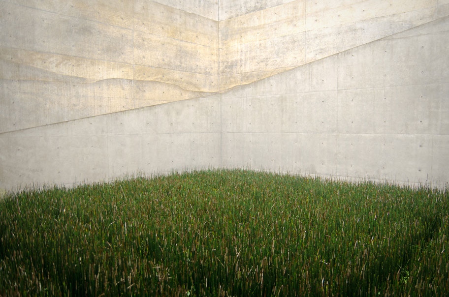 tadao ando chichu art museum concrete walls and grass