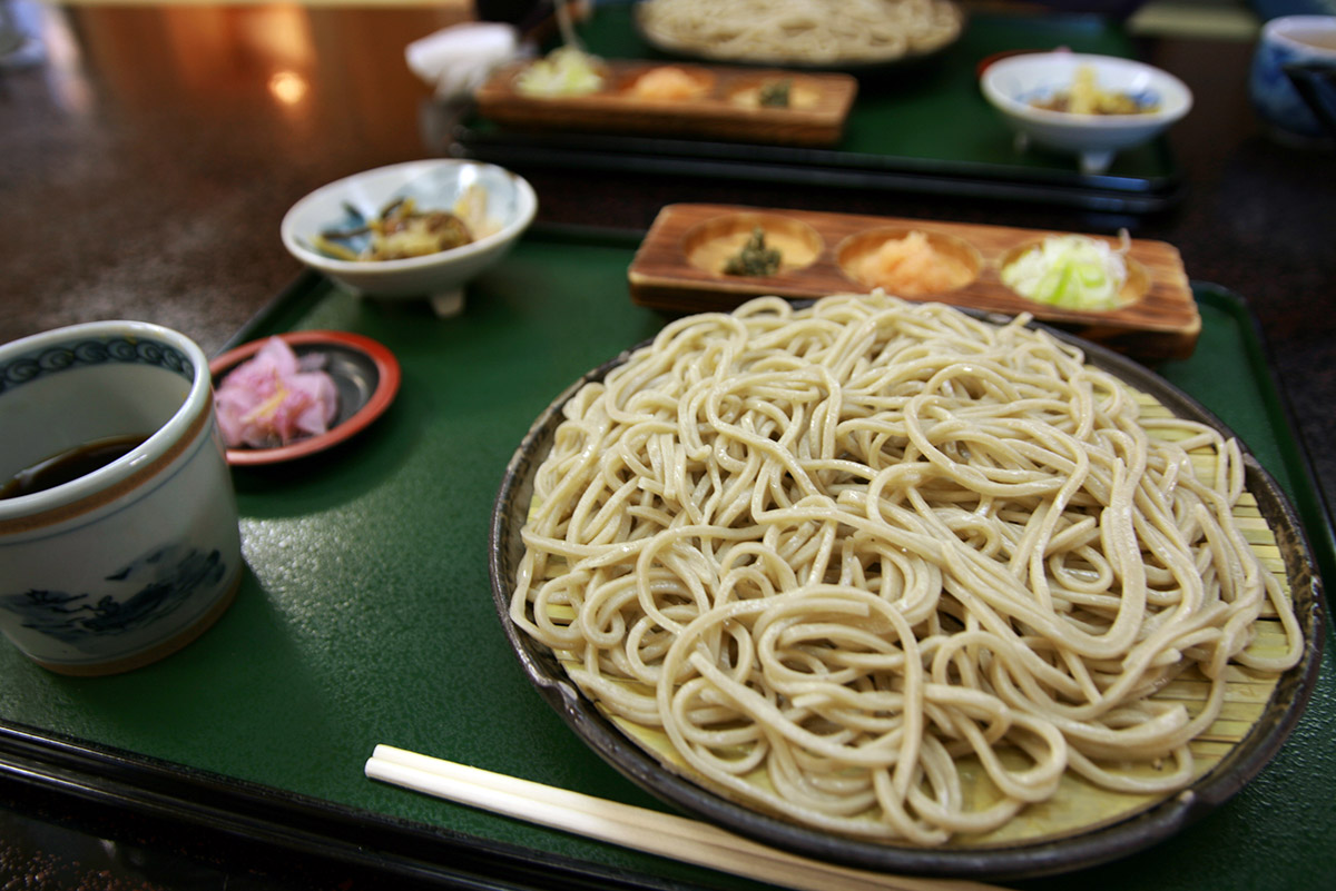 bowl of soba noodles and cup of tea