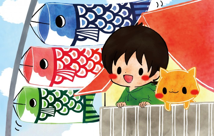 japanese boy and cat watch carp streamers for golden week