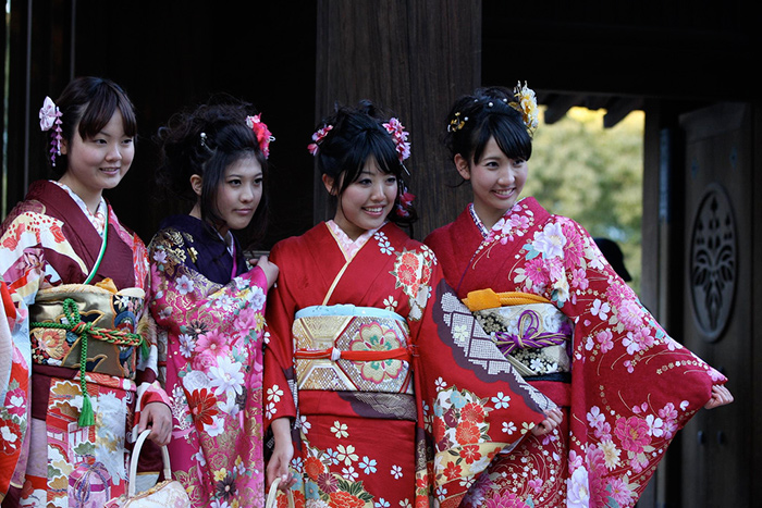 Four young Japanese women in yukata