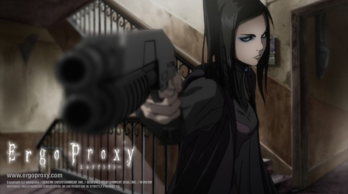 ergo proxy woman pointing gun
