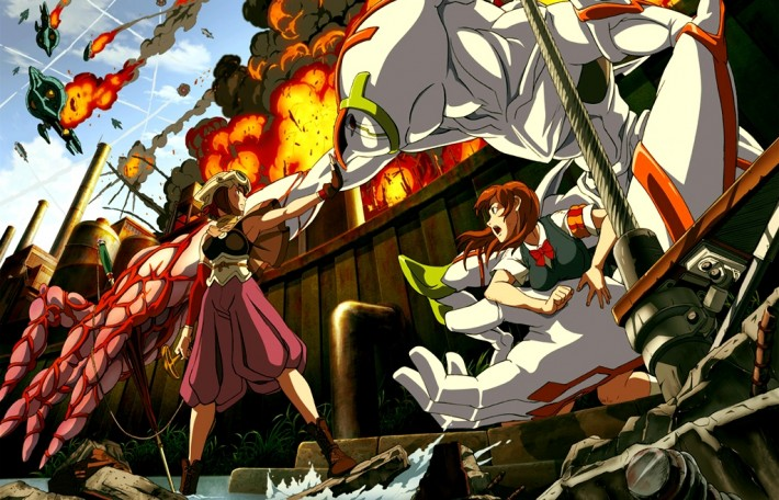 anime action shot with explosions