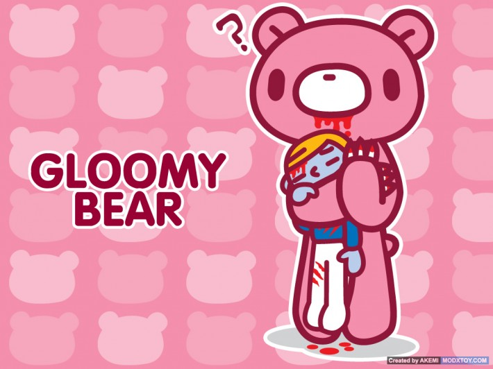 Gloomy Bear, a guro-kawaii character holding their dead owner