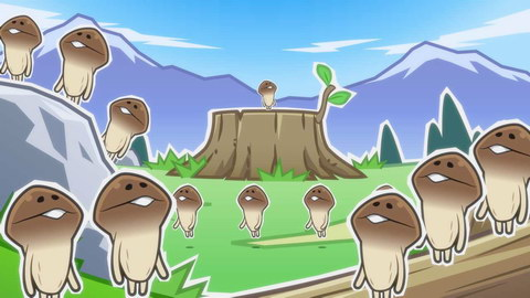 A mushroom character named Nameko in a field with mountains