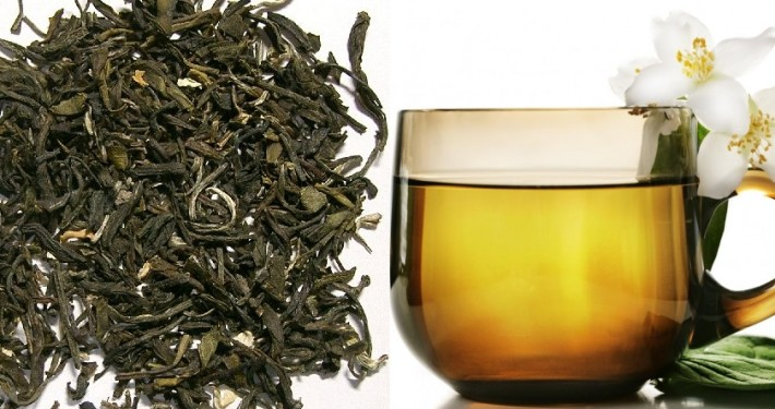 jasmine tea and tea leaves