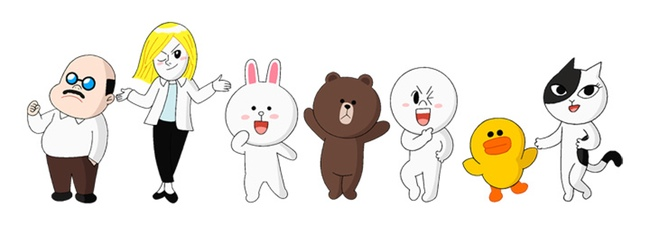 Seven characters from the messaging app LINE