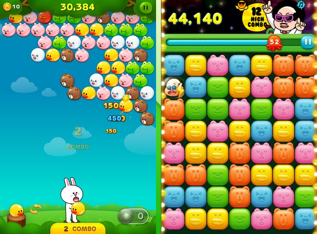 An example of two games that are playable on LINE