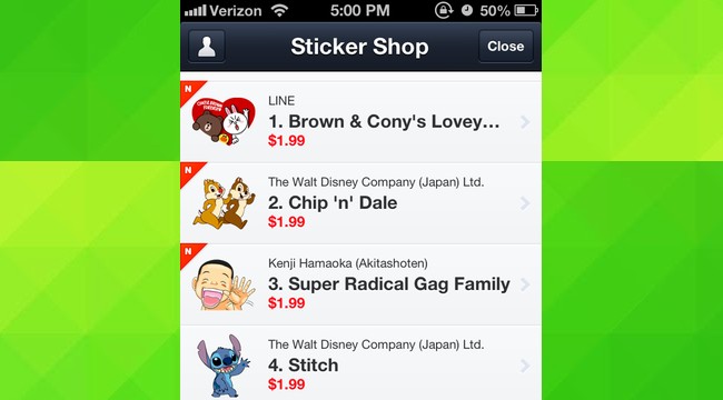 A list of stickers available for purchase on LINE