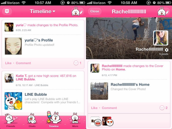 LINE timeline and profile page
