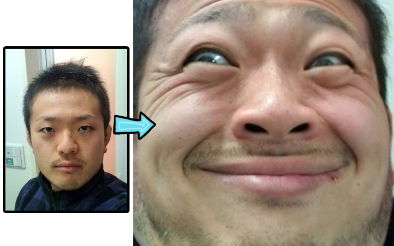 Before and after of a handsome man making a weird face