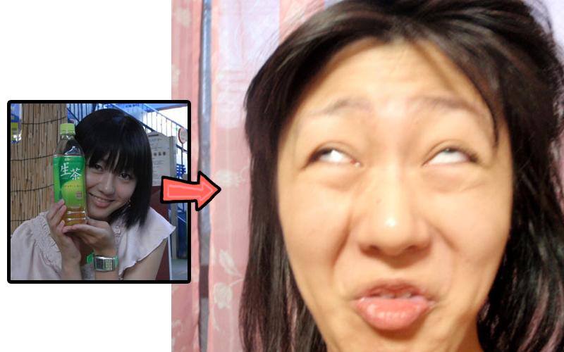 Before and after of a cute girl making a weird face