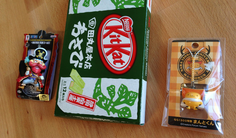 Wasabi KitKats, One Piece key chain, Nara mascot phone charm