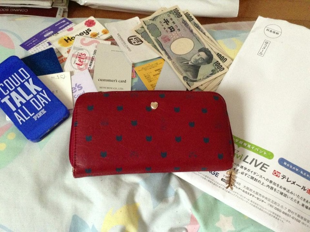 red wallet and blue phone on a bed purse contents