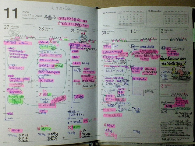 japan womans planner highlighted full of stuff to do